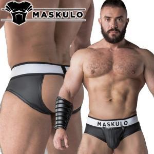ブリーフ でケツワレ(ケツ割れ) ジョックストラップ メンズ レザー風 フェイクレザー 男性下着 インナー  Maskulo マスクロArmored Rubber look(ma-br10)|mensrunway