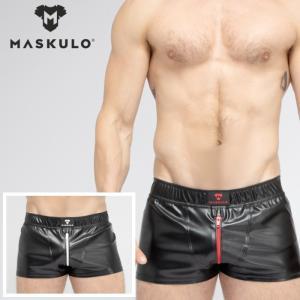 ショーツ ハーパン ハーフパンツ メンズ ジムウェア トレーニングウェア ジョギング Maskulo マスクロ レザー風SKULLA JOGGING (ma-sh072)|mensrunway