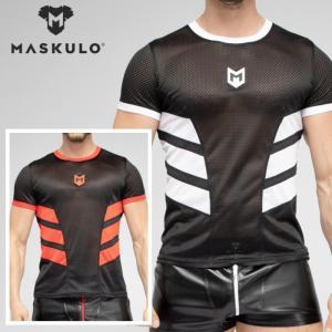 メンズ メッシュ Tシャツ ジムウェア トレーニングウェア ジョギング スポーツ Maskulo マスクロ SKULLA(ma-ts071)|mensrunway