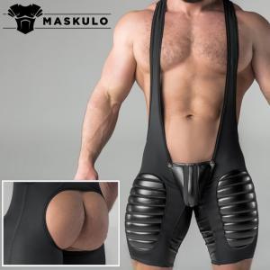 シングレット 男性下着 ボディスーツ 一体型セクシーインナー Maskulo マスクロ Armored 太ももパッド Oバック ケツ割れ ケツワレ(ma-ws13)|mensrunway