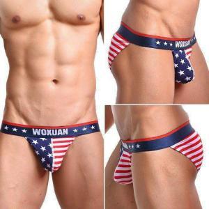 メンズビキニ 男性下着 メンズインナーWOXUAN ウォーシャン USA アメリカ国旗 ビキニ スポーツブリーフ ソフトな肌触り通気性抜群(wosbamrc) mensrunway