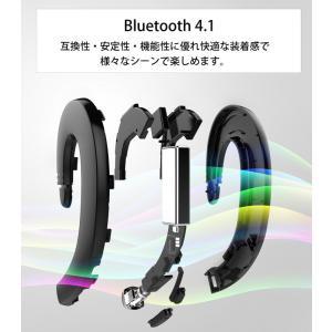 ワイヤレスイヤホン bluetooth 4.1 ブルートゥース イヤホン 耳かけ型 iPhone android アンドロイド スマホ 高音質 音楽 ハンズフリー 通話可|menstrend|02