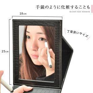 卓上ミラー 大型 折りたたみ化粧鏡 レザー調でおしゃれ 化粧ミラー かがみ テーブルミラー スタンドミラー 卓上鏡 メイク鏡 メイク用 おしゃれ 手鏡|menstrend|04