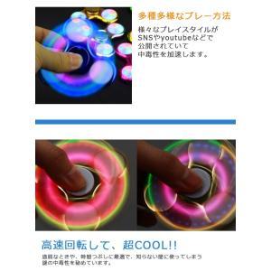 ハンドスピナー Hand spinner 光る LED搭載 指スピナー 三角 指遊び 指のこま ストレス解消  金属  おもちゃ|menstrend|04