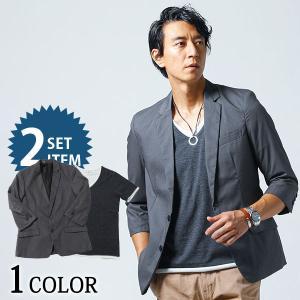 ジャケット メンズ アウター トップス テーラードジャケット フェイクレイヤード カットソー Tシャツ セット 春 夏 服 30代 40代 50代 menz-style