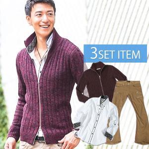 ニット スタンドニット カジュアルシャツ シャツ ブーツカット チノパンツ メンズ ★セット買い★ニット×シャツ×パンツの3点セット BW menz-style