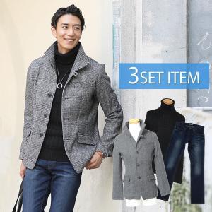 コートセット メンズ ジャケット × ニット × デニム 3点セット 36 menz-style