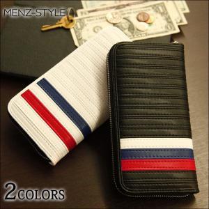 財布 メンズ ウォレット トリコロールラインラウンドジップウォレット menz-style