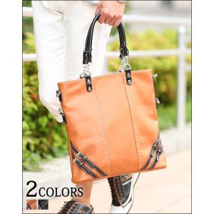 トートバック メンズ 鞄 バッグ PUレザー デザイン ベルト|menz-style