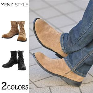 ブーツ サイドジップ メンズ 靴 シューズ サイドジップサイドジップドレープデザインブーツ|menz-style