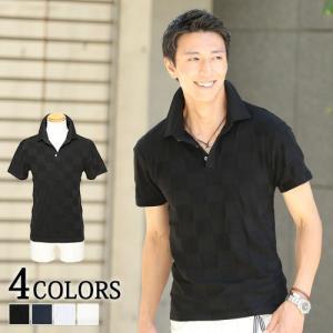 ポロシャツ メンズ ブロック ジャガード 半袖 おしゃれ 30代 40代 50代 メンズスタイル menz-style menz-style