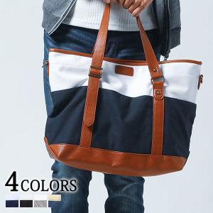 トートバッグ メンズ バッグ キャンバス 帆布 ライン 2WAY ショルダーバッグ 小物 30代 40代 50代|menz-style
