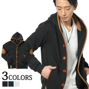 パーカー メンズ トップス アウター ウッドボタン パイピング 長袖 春秋冬 服 30代 40代 50代|menz-style