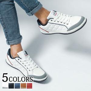 スニーカー メンズ シューズ レースアップ 軽量 キルティング 合成皮革 PUレザー ショート 春 夏 秋 冬 靴 30代 40代 50代 menz-style