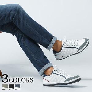スニーカー メンズ シューズ キルティング ローカット PUレザー 合成皮革 カジュアル 軽量 春 夏 秋 冬 靴 30代 40代 50代 menz-style