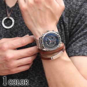 メンズ 時計 腕時計 フェイククロノグラフ ブルー ウォッチ おしゃれ 30代 40代 50代 メンズスタイル menz-style