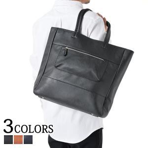 トートバッグ メンズ バッグ レザー 合成皮革 パンチングポケット付きPUレザースクエアトートバッグ|menz-style