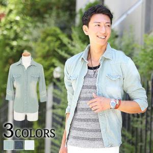 デニムシャツ メンズ シャツ デニム 7分袖 七分袖 おしゃれ 20代 30代 40代 50代 大きいサイズ|menz-style