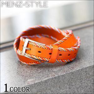 ベルト メンズ ファッション マルチカラーステッチデザインP...