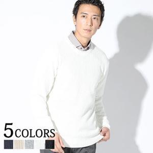 ニット メンズ トップス ビジネスカジュアル 長袖 ラインデザイン クルーネック 7G 秋冬 服 30代 40代 50代 menz-style