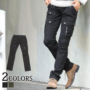 パンツ メンズ ロングパンツ カーゴ ジップデザインフラップポケットストレッチカーゴパンツ おしゃれ 30代 40代 メンズスタイル|menz-style