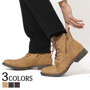 ブーツ メンズ シューズ ジップ レースアップ ダブルンサイドジップデザインブーツ|menz-style