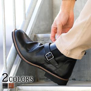 サイドゴアブーツ メンズ ブーツ シューズ ショートブーツ PUレザー 合成皮革 ベルト 春 秋 冬 靴 30代 40代 50代|menz-style