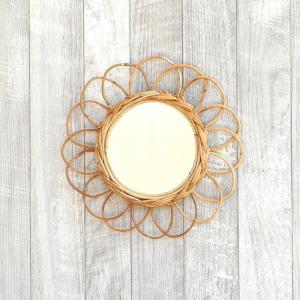 アラログ フラワーミラー S/Creer ミラー 鏡 壁掛け アラログ ラタン インドネシア 籐製 ...
