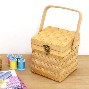 ウッドチップ製ツイル編みミニソーイングボックス ( かご 収納 バスケット 北欧 おしゃれ )|mercadomercado