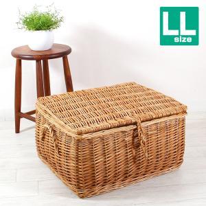 フタ付き かご バスケット LLサイズ (ウィロー製) 収納ボックス かご 収納 バスケット|mercadomercado
