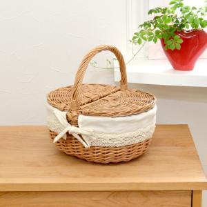 ピクニックバスケット フタ付き ウィッカー バスケット レース Mサイズ|mercadomercado