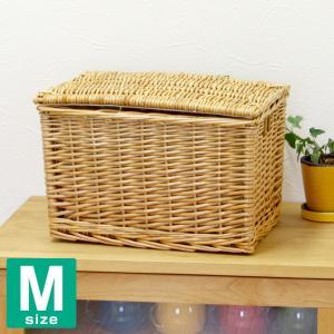 かご バスケット 収納 フタ付き 収納ボックス Mサイズ 内布:ライトグレーの写真