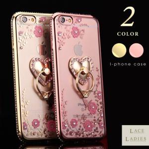 iPhone用 リング付き クリア タイプ カバー ケース ビジュー iPhone6 iPhone6Plus iPhone7 iPhone7Plus 対応 レディース|mercalifassion