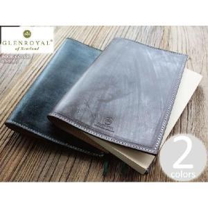 GLENROYAL グレンロイヤル レザーブックカバー 03-2605 ブラック/ブラウン/ダークブルー/オックスフォードタン|mercato-y