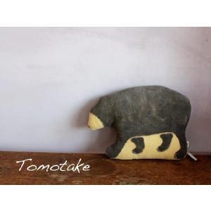 ☆(tomotake) トモタケ 動物クッション 子ぐま(泥染め/ぬいぐるみ/ハンドメイド) (送料無料)|mercato-y