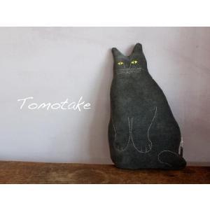 ☆(tomotake) トモタケ 動物クッション 黒ネコ(泥染め/ぬいぐるみ/ハンドメイド) (送料無料)|mercato-y