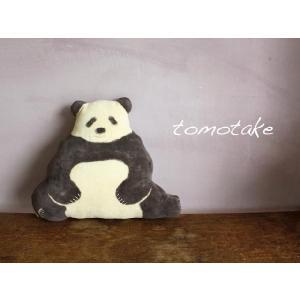 ☆(tomotake) トモタケ 動物クッション パンダ(泥染め/ぬいぐるみ/ハンドメイド) (送料無料)|mercato-y