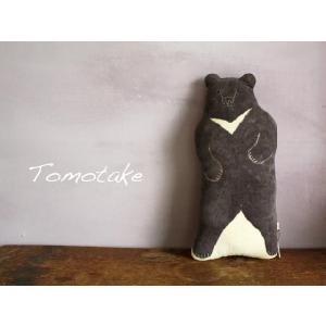 ☆(tomotake) トモタケ 動物クッション 月の輪ぐま(泥染め/ぬいぐるみ/ハンドメイド) (送料無料)|mercato-y
