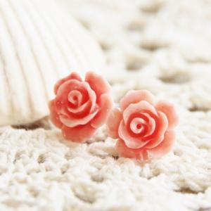 コーラル 深海 サンゴ ローズ ピアス イヤリング 珊瑚 さんご ピンク レディース 花 バラ 薔薇 フラワー|merci-j