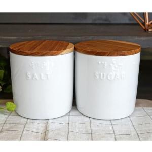 キャニスター ソルト シュガー 陶器 BS PL ナチュラル プレーン 木蓋 磁器 ホワイト 白 日本製 70001 70002 キッチン用品 食器 調理器具 キッチンストッカー|merci-p