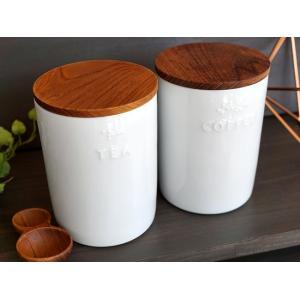 キャニスター コーヒー ティー陶器 BS PL ナチュラル プレーン 木蓋 磁器 ホワイト 白 日本製 70003 70004 キッチン用品 食器|merci-p