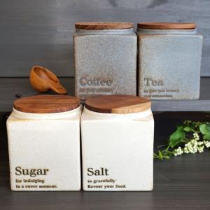 キャニスター BS05 ソルト シュガー コーヒー ティー 陶器 BS PL ナチュラル プレーン 木蓋 磁器 ホワイト 白 日本製 キッチン用品 食|merci-p