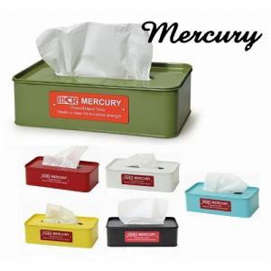 mercury マーキュリー ブリキティッシュボックス ティッシュケース ブリキ おしゃれ ふた付き ティッシュ ティッシュペーパー キッチン 台所 merci-p