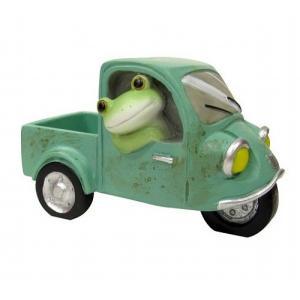 コポー 三輪自動車に乗るカエル 置物 小物 オブジェ カエル 置き物  蛙 フロッグ FROG 70893|merci-p