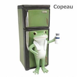 コポー レトロ 冷蔵庫とカエル 72248 Copeau 昭和家電 冷蔵庫 牛乳 置物 雑貨 小物 オブジェ カエル 置き物 置物 オブジェ  蛙 フロッグ FROG ガーデン雑貨|merci-p