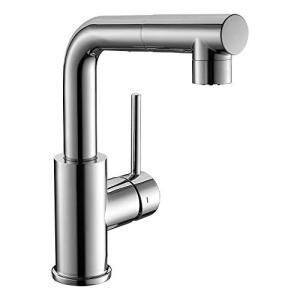 CREA 洗面蛇口 浴室用水栓 引き出せる 伸縮 360度回転 蛇口台付 キッチン用混合水栓 シングルレバー混合栓 2wayの吐水式 泡沫水流 シャワ|merciteam
