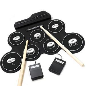 iWord 電子ドラム ポータブルドラム 7個ドラムパッド 8デモ曲 5ドラム音色 練習用パッド 30時間の連続使用 外部音源入力可能 練習/初心者/|merciteam
