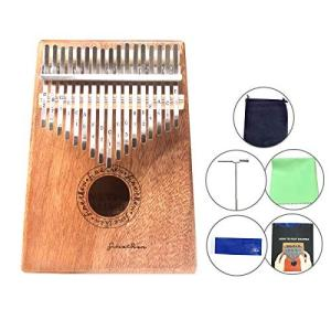 FINETHER カリンバ 親指のピアノ アフリカ楽器 Kalimba 17鍵のカリンバ 手作り木製 桃花木 木の色 癒し音楽 初心者入門用 音楽手引|merciteam