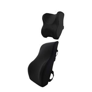KozyMore 新世代 車用 低反発 クッション+ネックパッド 頸椎サポーター 腰痛対策 ランバー...