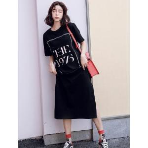 ★新作 夏服 ビッグ ロゴ ゆったり サイズ 半袖 Tシャツ ロング カジュアル ワンピース THE...
